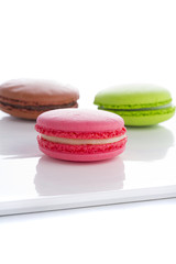 A french sweet delicacy, macaroons variety closeup isolated