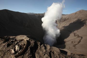 Smoking crater of Mount Bromo, Indonesia.