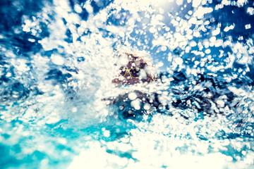 Water splash. Blurred background