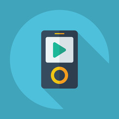 Flat modern design with shadow mp4 player play