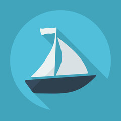 Flat modern design with shadow sailboat