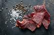 Leinwandbild Motiv beef jerky and spice