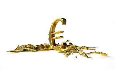 euro symbol melts into liquid gold. path included
