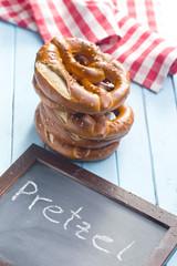 baked pretzels and chalkboard