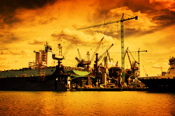 Shipyard. Ship under construction, repair. Industry, transport
