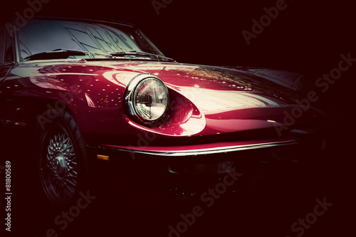 Poster Retro classic car on dark background. Vintage, elegant