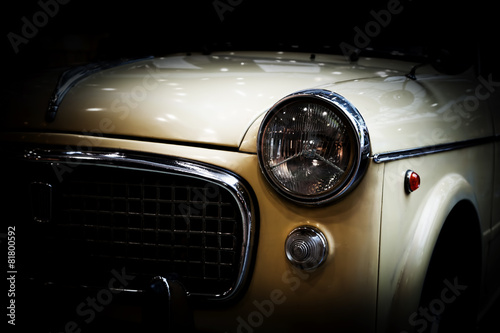 Poster, Tablou Retro classic car on black background. Vintage, elegant