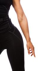 Part og fitness woman in black sportswear