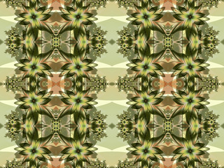 Flower pattern in fractal design. Green and Beige palette. Compu