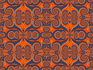 Symmetrical Pattern from Spiral fractal. Blue and orange palette