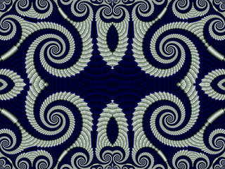 Symmetrical Pattern from Spiral fractal. Gray and blue palette.