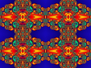 Flower pattern in fractal design. Orange and blue palette. Artwo