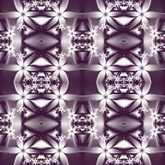 Flower pattern in fractal design. Violet and white palette. Comp