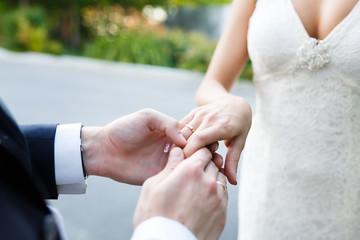 Hands of wedding couple