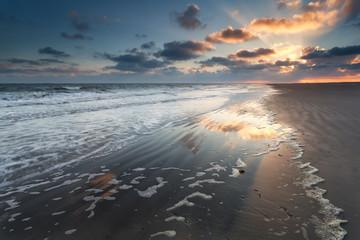 dramatic sunrise over North sea coast