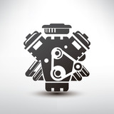car engine symbol, stylized vector silhouette of automobile moto
