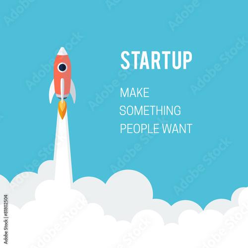 Fototapeta Flat designt business startup launch concept.