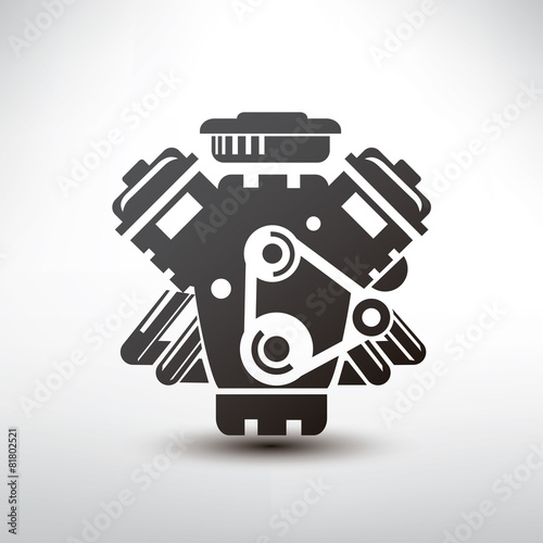 car engine symbol, stylized vector silhouette of automobile moto - 81802521