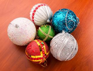 Christmas balls on the table
