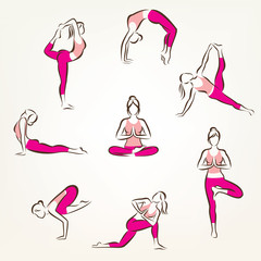 set of yoga and pilates poses symbols, stylized vector symbols,