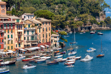 Colorful houses and boats in Portofino.