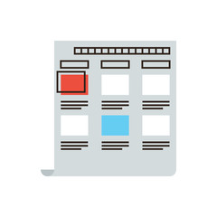 Storyboard flat line icon concept