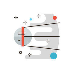 Space exploration flat line icon concept