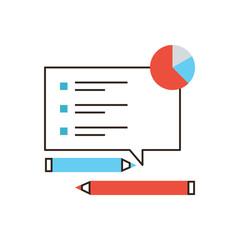 Market survey flat line icon concept