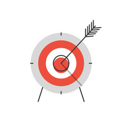 Success targeting flat line icon concept