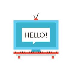 TV media advertisement flat line icon concept