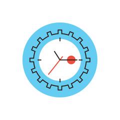 Time management flat line icon concept