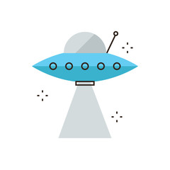 UFO spaceship flat line icon concept