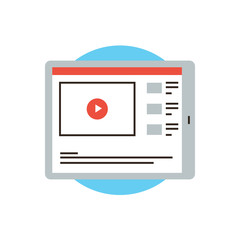 Video player flat line icon concept