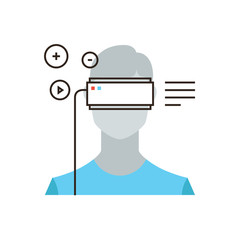Virtual reality headset flat line icon concept