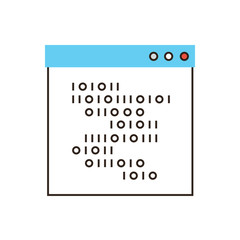 Programming code flat line icon concept