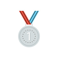 Medal award flat line icon concept