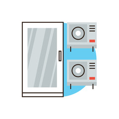 Air conditioner system flat line icon concept
