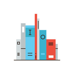 Shelf with books flat line icon concept