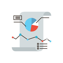 Business infographics flat line icon concept