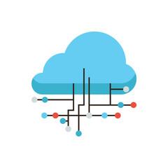 Cloud connection flat line icon concept