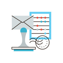 Company accounting flat line icon concept
