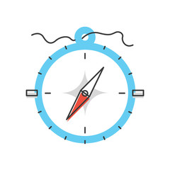 Navigation compass flat line icon concept