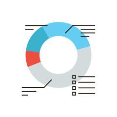 Corporate diagram flat line icon concept