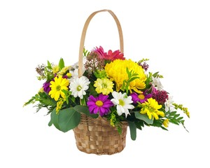 Flower bouquet from multi colored chrysanthemum and other flower