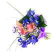 Flower bouquet from iris, calla and other flowers isolated.