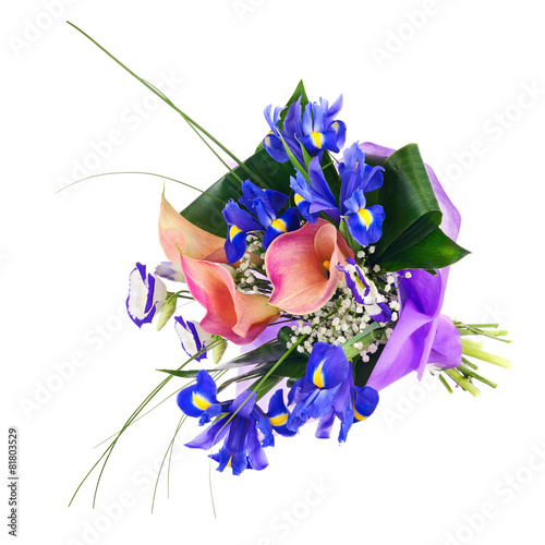 Foto op Canvas Iris Flower bouquet from iris, calla and other flowers isolated.