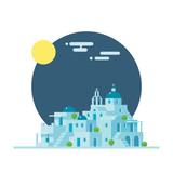 Flat design of Santorini Greece village - 81803740