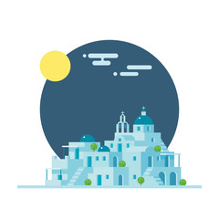 Flat design of Santorini Greece village