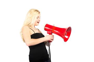 Frau mit Megafon