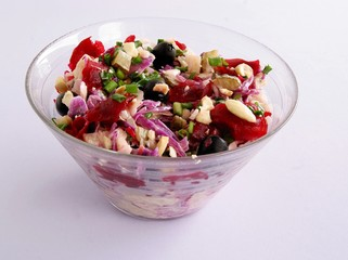 vegetable salad with red and white cabbages